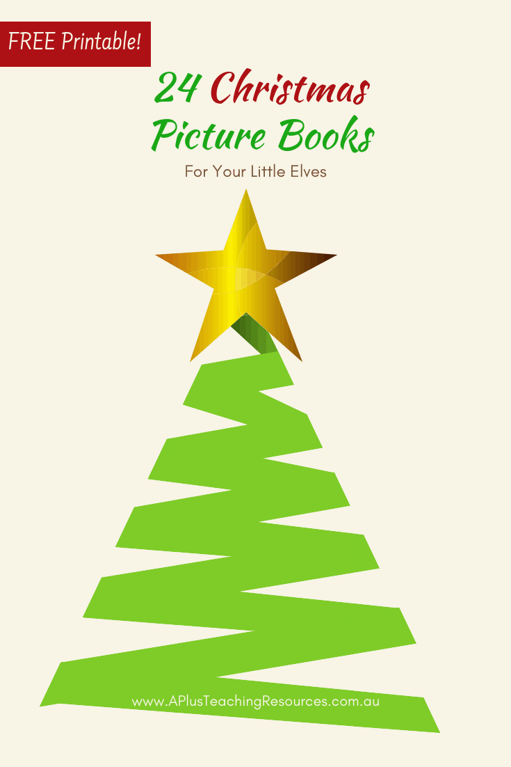 Download this handy Free Christmas Picture Books List {For Little Elves} for  24 of the Best Christmas Picture Books for Kids From traditional, modern and very Jolly Stories for the Holiday Season! #Christmas