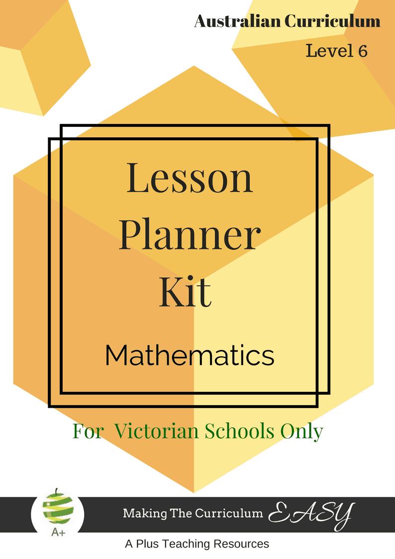 Level 6 Maths Lesson Planner For Victorian Teachers