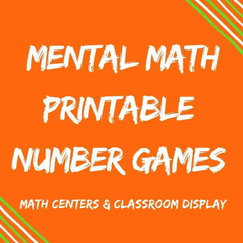Mental Math Printable Number Games