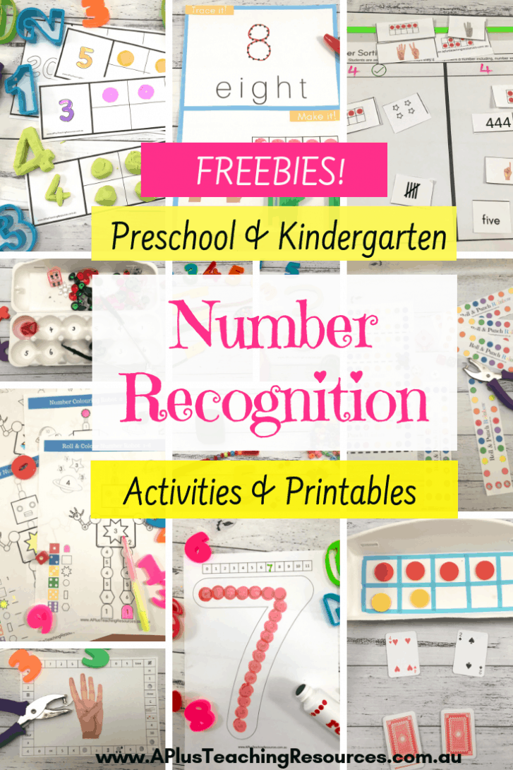 Teaching number recognition freebies for kindergarten